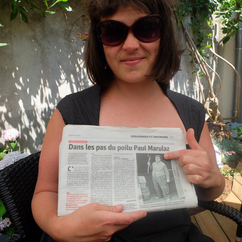 Marion Fabien et notre appel à témoin dans Vosges Matin.